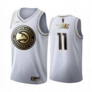 Atlanta Hawks Trae Young White Gold #11 Jersey